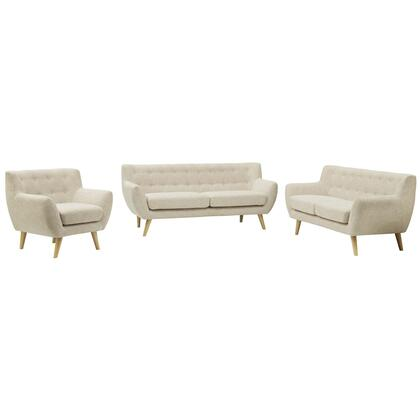 Remark Collection EEI-1782-BEI-SET 3 PC Living Room Set with Flared Armrest  Non-Marking Foot Caps  Mid-Century Modern Style  Natural Tapered