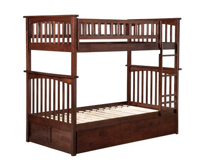 Columbia Collection AB55144 Twin Over Twin Size Bunk Bed with 2 Urban Bed Drawers  Lead Free  Casters  Clip On Ladder and Solid Eco-Friendly Hardwood