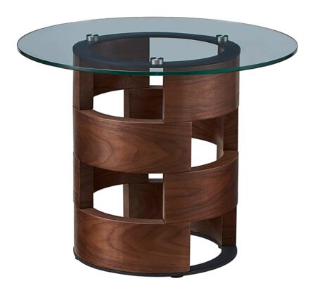 1601ENDTABLE 28″ x 28″ Round End Table with Glass Top and Wood Base in Walnut