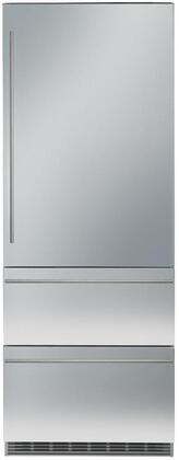 30″ Bottom Freezer Refrigerator with 80″ Height Door Panels and Oval Handles in Stainless