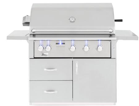 ALT42R-NG 42″ Alturi Freestanding Grill in Natural Gas with 1100 sq. inch Cooking Area  3 Cast Red Brass Main Burner  1 Rotisserie Back Burner  1
