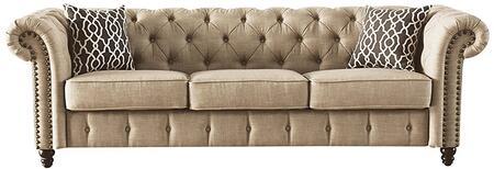 Acme Furniture Aurelia 52420 Stationary Sofa Beige, 1