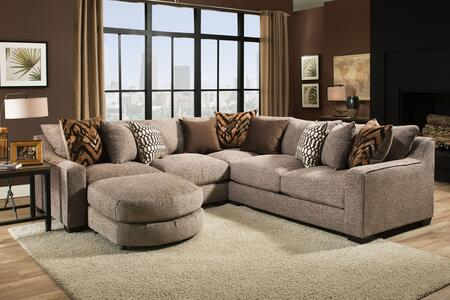 Minnesota Collection 181400-2007-4PC-SEC-HS 113″ 4 PC Sectional with Bumper Ottoman  Decorative Pillows  Track Arms  Block Feet  Homespun Stone