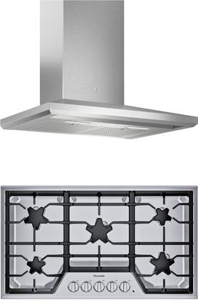 2 Piece Kitchen Appliances Package with SGS365TS 36″ Gas Cooktop and HMCB36WS 36″ Wall Mount Convertible Hood in Stainless