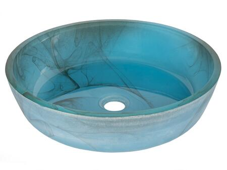 EB_GS51 17″ Blue Mist Flat Bottom Vessel Sink with 1 Year Limited Warranty  Round Shape and Tempered Glass Material in Blue