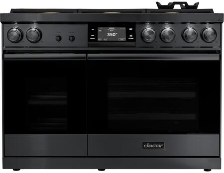 Dacor Contemporary DOP48M86DLM Freestanding Dual Fuel Range Graphite Stainless Steel, Front View