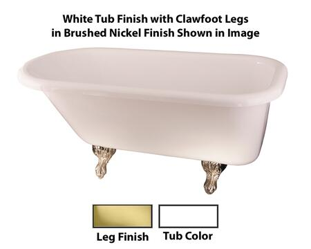 Barclay  ADTR60WHPB Bath Tub White, White Tub Finish with Clawfoot Legs in Brushed Nickel Finish