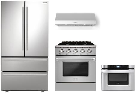 Appliances Connection Picks SHARP  1500847 Kitchen Appliance Package Stainless Steel, Main Image