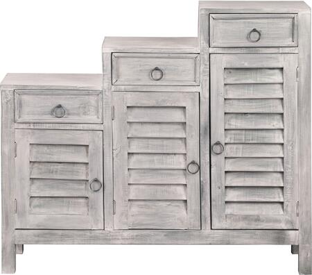 CC-CAB1181LD-SW Cottage Three Tiered Shutter Cabinet with Distress Details  Wood Construction  Decorative Hardware  Storage Drawers and Smooth Flat