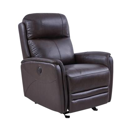 Wolfe Collection LCWO1BR Power Recliner Chair with 2.2 High Density Foam Cushion  USB Charging Port  Contemporary Style  Solid Hardwood Frame and Top