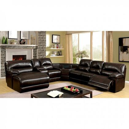 Furniture of America Glasgow CM6822BRTSECT Sectional Sofa Brown, Main Image