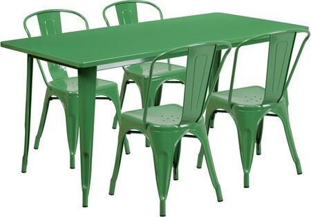 Flash Furniture ETCT005430GNGG Outdoor Patio Set Green, 1