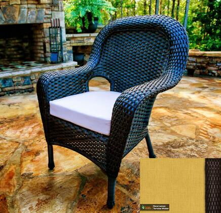 Sea Pines Collection LEX-DC-T-RAVEL Dining Chair in Tortoise Wicker and Rave Lemon Fabric