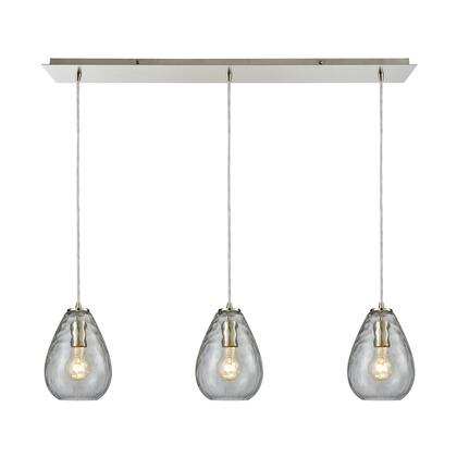 10760/3LP Lagoon 3-Light Linear Pan in Satin Nickel with Clear Water Glass