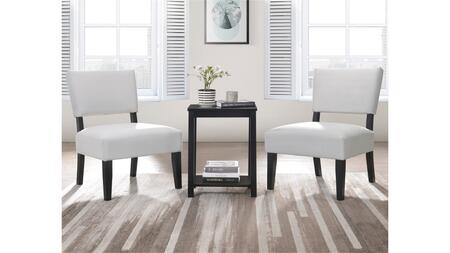 Bryson Collection 59840 3 Piece Chair and Table Set  Accent Armless Chair  Padded Seat & Back Fabric  Rectangular Leg Table  in Dove Gray and Black