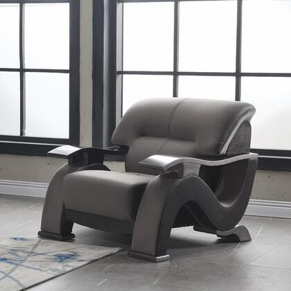 U2033-GREY-CH 40″ Contemporary Velvet Chair with S-Shaped Side Panels  Plywood Frame and Split Back Cushion in