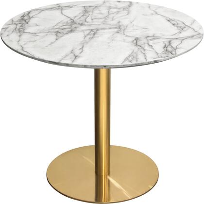 """Stella_Collection_STELLADTMAGD_36""""_Round_Dining_Table_with_Faux_Marble_Top__MDF_Material__Brushed_Gold_Metal_Base_and_Contemporary_Style_in_White_and"""