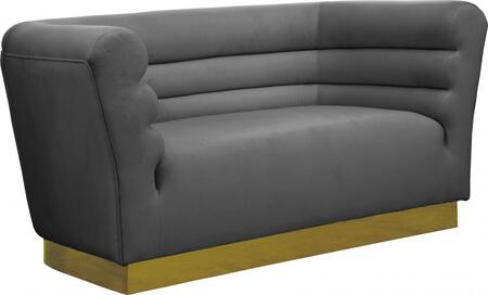 Bellini 669GREY-L 67″ Loveseat with Piped Stitching  Gold Stainless Steel Base and Velvet Upholstery in