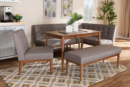 BBT8051-GREY/WALNUT-5PCDININGNOOKSET Arvid Mid-Century Modern Gray Fabric Upholstered 5-Piece Wood Dining Nook