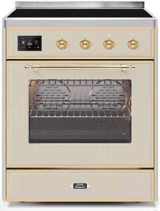 Ilve Majestic II UMI30NE3AWG Freestanding Electric Range Bisque, UMI30NE3AWG Induction Range