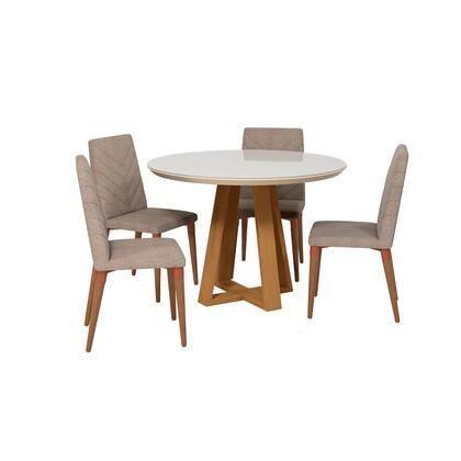 Duffy and Utopia Collection 2-1018551109253 5 PC Dining Set with Contemporary Modern Style  Medium-Density Fiberboard (MDF) Frame  Pine Wood Feet and
