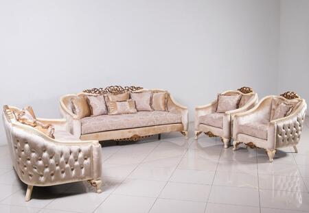 European Furniture Angelica 45350SLC Living Room Set Beige, Main Image
