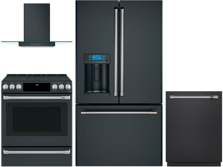 4 Piece Kitchen Appliances Package with CYE22TP3MD1 36″ French Door Refrigerator  CES700P3MD1 30″ Slide-in Electric Range  CVW73013MDS 30″ Wall Mount