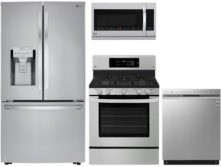 4 Piece Kitchen Appliances Package with LRFXC2406S 36″ French Door Refrigerator  LRG3194ST 30″ Gas Range  LMHM2237ST 30″ Over the Range Microwave and