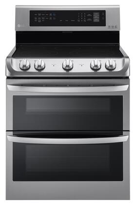 """LDE4413ST 30"""" Freestanding Electric Double Oven Range with 7.3 cu. ft. Oven Capacity 5 Cooking Elements Probake Convection Glass Touch Controls"""