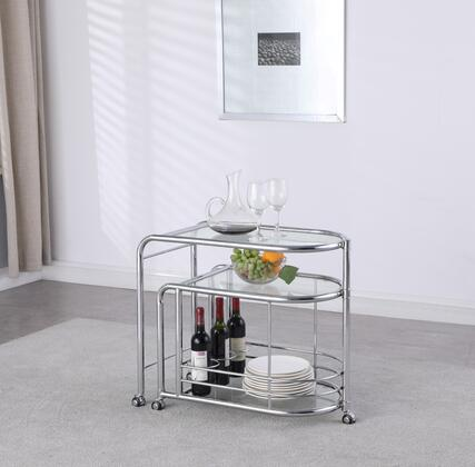 3067-TC Modern Tea Cart with Swivel Shelf in Polished Stainless