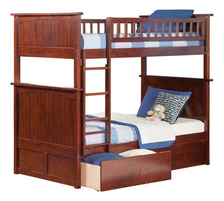 AB59144 Nantucket Bunk Bed Twin over Twin with 2 Urban Bed Drawers in