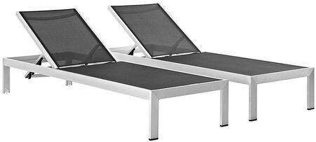 Modway Shore EEI2472SLVBLKSET Lounge Chair Black, Patio Chaise