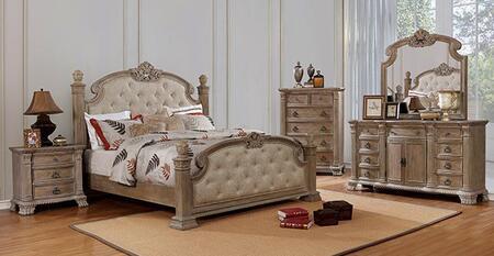 Furniture of America Montgomery CM7800EKBEDNSCHDRMR Bedroom Set Brown, CM7800EK-BED-NSCHDRMR