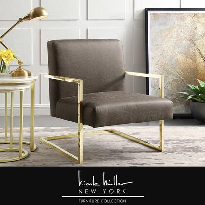Xzavier Collection NAC104-01TN-AC Accent Chair with Square Arm  Stainless Steel Frame and PU Leather Upholstery in Tan and Gold