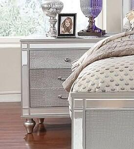 Furniture of America Brachium CM7977SVN Nightstand Silver, Nightstand