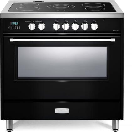 Verona Designer VDFSEE365GB Freestanding Electric Range Black, VDFSEE365GB Designer Electric Glass Top Range