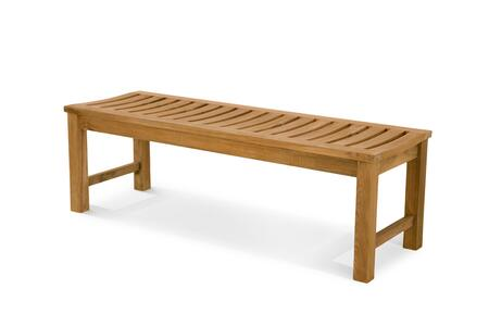 Classic Collection DN-3050 5′ Backless Bench with Teak Construction  Stainless Steel and Brass Hardware  Mortise and Tenon Joinery in Honey