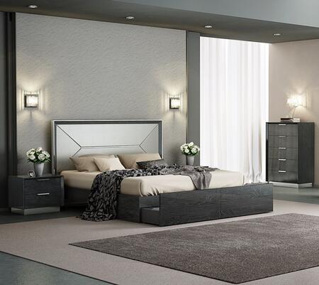 Whiteline Navi BK1354PGRY3SET Bedroom Set Gray, Bedroom Set