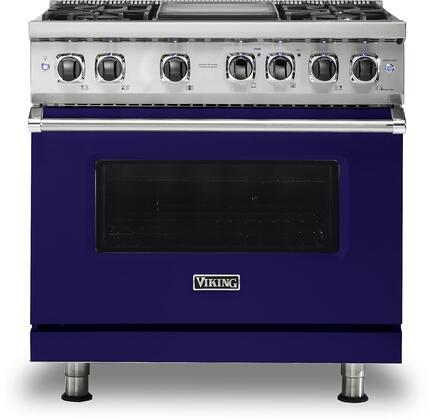 Viking Professional 5 VDR5364GCB Freestanding Dual Fuel Range Blue, Front view
