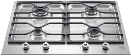 """PM24400X 24"""""""" Professional Series Segmented Gas Cooktop with 4 Aluminum Burners  Front-Mounted Knobs  Thermocouple Safety Device  Continuous Cast Iron -  Bertazzoni"""