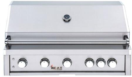 HTGR40-5-NG 40″ Natural Gas Built-In Grill with 5 Cast Stainless Steel Burners  Infrared Back Burner  Cool Blue LED Lights and 16-Gauge Flame Tamer