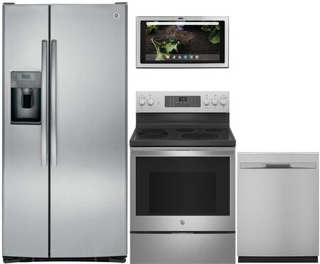 4 Piece Kitchen Appliances Package with GSS23GSKSS 33″ Side by Side Refrigerator  JB860SJSS 30″ Electric Range  UVH13012MSS 30″ Under Cabinet Ducted