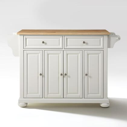 Alexandria Collection KF30001AWH Wood Top Island/Cart in White