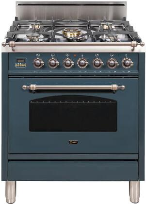 Ilve Nostalgie UPN76DVGGGUYLP Freestanding Gas Range Blue Grey, Blue Grey Gas Range