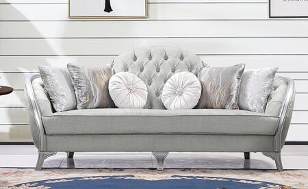 Natalia Collection 3035LGNAT Transitional Style Sofa In Silver Finish