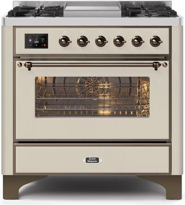 UM09FDNS3AWB 36″ Majestic II Series Dual Fuel Natural Gas Range with 6 Burners and Griddle  3.5 cu. ft. Oven Capacity  TFT Oven Control Display