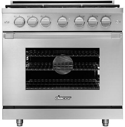 Dacor Heritage HGPR3 Freestanding Gas Range Stainless Steel, Front View