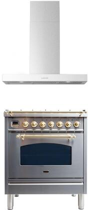 2 Piece Kitchen Appliances Package with UPN76DMPILP 30″ Dual Fuel Liquid Propane Range and BELLINA30 30″ Wall Mount Convertible Hood in Stainless
