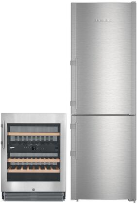 """2 Piece Kitchen Appliances Package with CS1210 24"""" Bottom Freezer Refrigerator and WU3400 24"""" Built-in Wine Cooler in Stainless"""