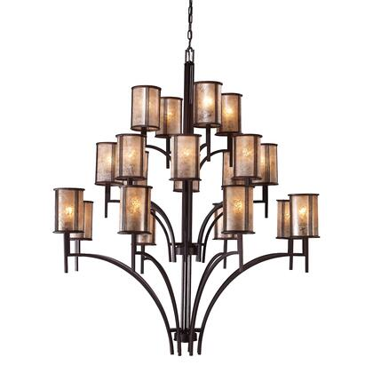 15037/8+8+4 Barringer 8+8+4-Light Chandelier in Aged Bronze and Tan Mica